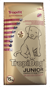 Tropidog Super Premium Junior M&L Turkey 15kg